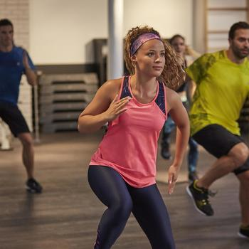 Fitnesstopje Cardio 500 dames fluoroze Domyos