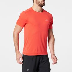KALENJI DRY MEN'S BREATHABLE RUNNING T-SHIRT - NEON CORAL
