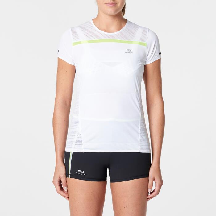 Camiseta Manga Corta Running Kalenji Kiprun Light Mujer Blanco Portadorsal