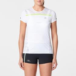 Hardloopshirt met startnummerhouder voor dames Kiprun wit