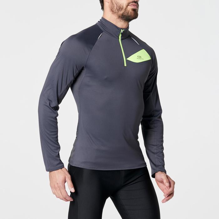 Tee shirt manches longues trail running gris foncé jaune homme