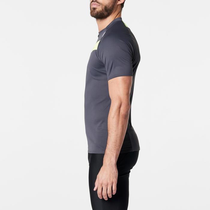 Tee shirt manches courtes trail running gris jaune homme