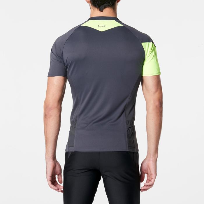 Tee shirt manches courtes trail running gris jaune homme - 1264263