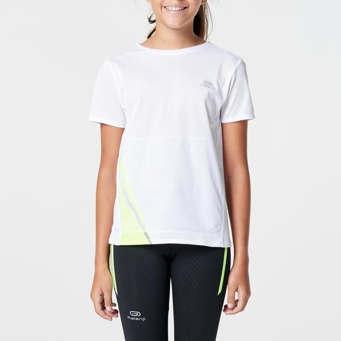 Tee shirt athlétisme enfant run dry dossard blanc