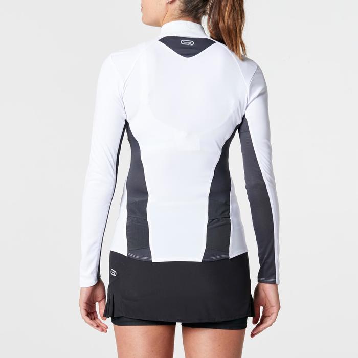 Tee shirt manches longues trail running blanc jaune femme - 1264291