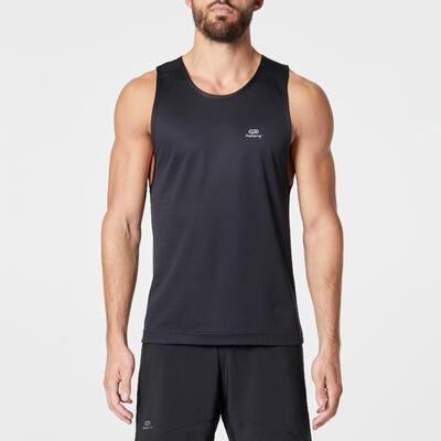 تيشيرت بدون أكمام RUN DRY للرجال لممارسة الجري –لون أسود