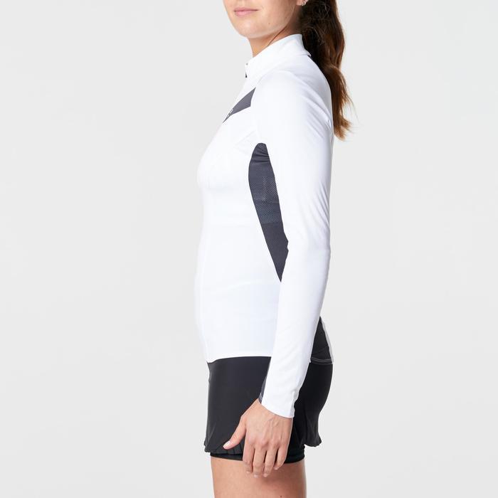 Tee shirt manches longues trail running blanc jaune femme - 1264329