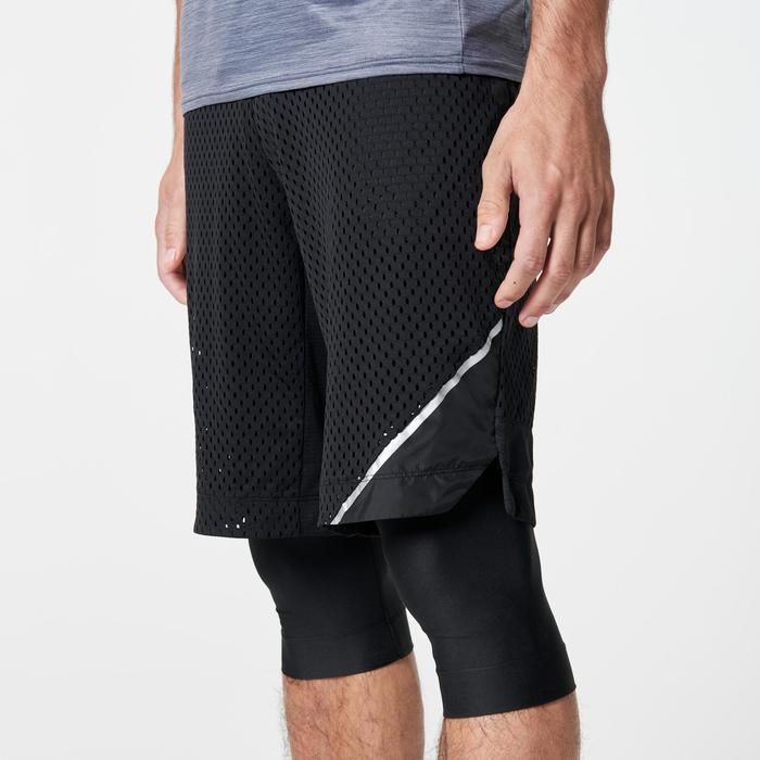 Pantalon Corto Deportivo Running Kalenji Run Dry + Breathe Hombre Negro