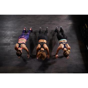 Brassière fitness cardio femme imprimés géométriques noirs 500 Domyos - 1264378