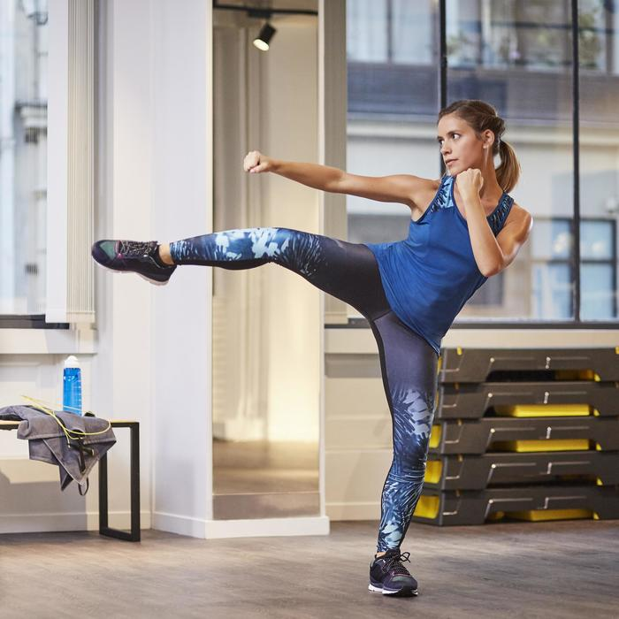 Legging fitness cardio femme bleu marine et imprimés tropicaux roses 500 Domyos - 1264386