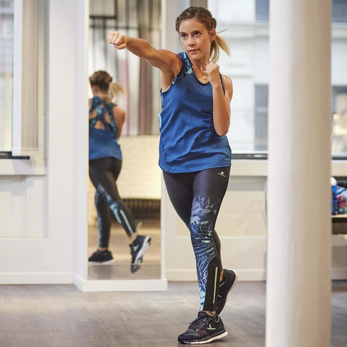 Legging fitness cardio femme bleu marine et imprimés tropicaux roses 500 Domyos - 1264388