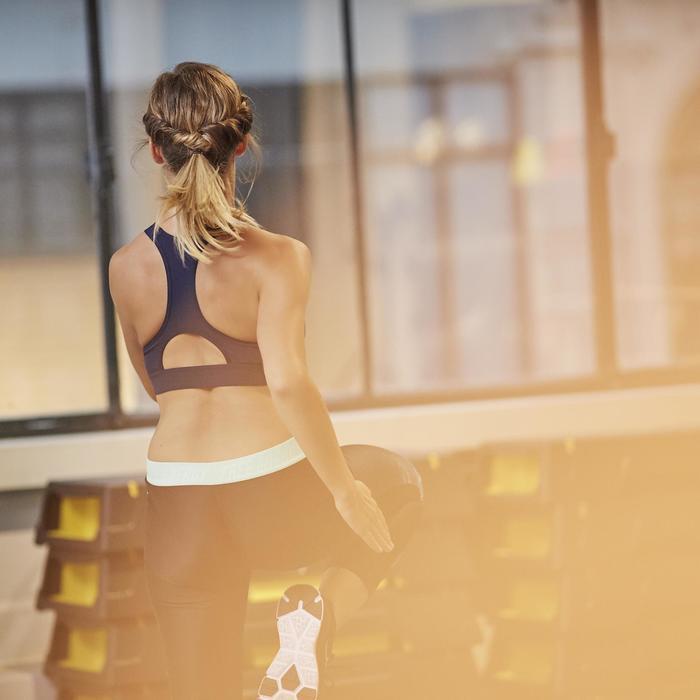 7/8-Leggings 500 Fitness Cardio schwarz mit blauem Tropical-Print Damen
