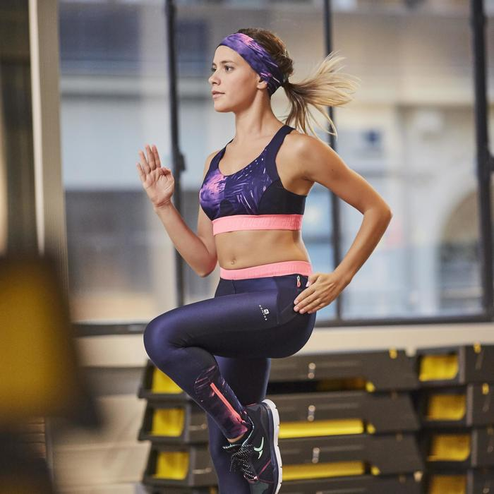 Legging fitness cardio femme bleu marine et imprimés tropicaux roses 500 Domyos - 1264402