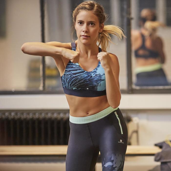 Sportlegging (7/8) 500 voor fitness cardio met blauwe tropische print