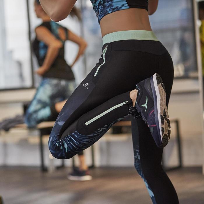 Legging fitness cardio femme bleu marine et imprimés tropicaux roses 500 Domyos - 1264418