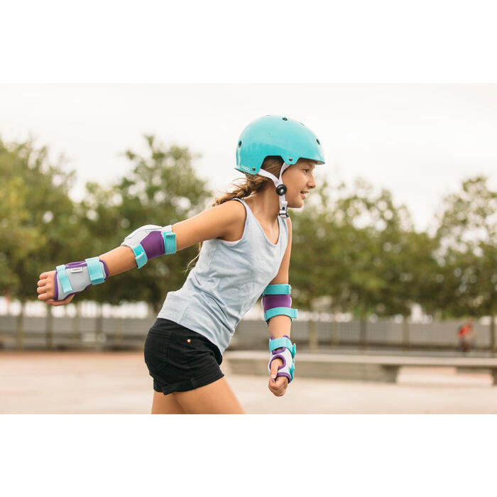 Set de 3 protecciones roller skateboard patinete para niños PLAY turquesa