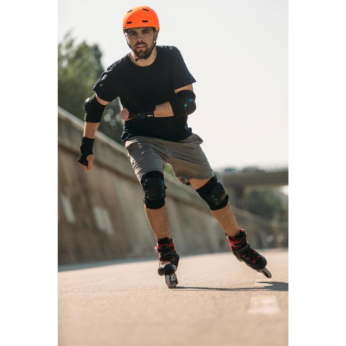 Set 3 protecciones roller skateboard patinete adulto FIT 5 negro azul