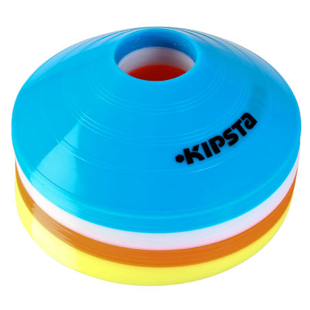 Flat Disc Markers 40-Pack (10 Blue, 10 White, 10 Red, 10 Yellow)