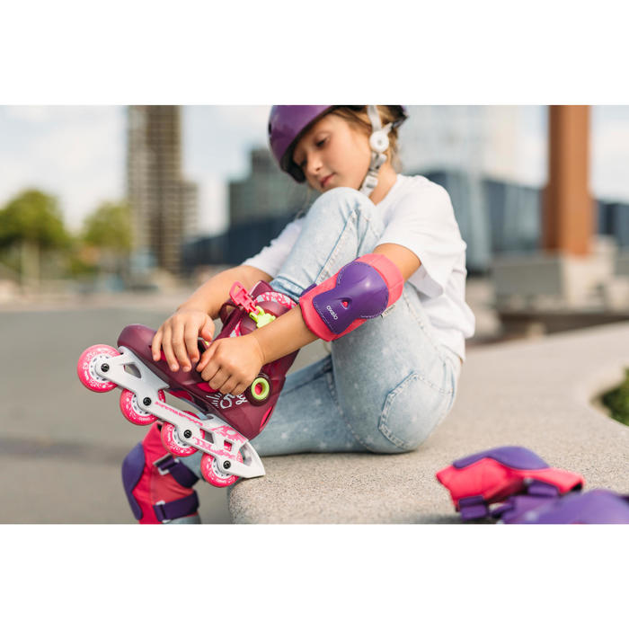 Protektoren 3er-Set Play Inliner Skateboard Scooter Kinder rosa/lila