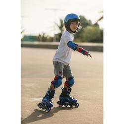 Set 3 protections roller skate trottinette enfant PLAY bleu rouge