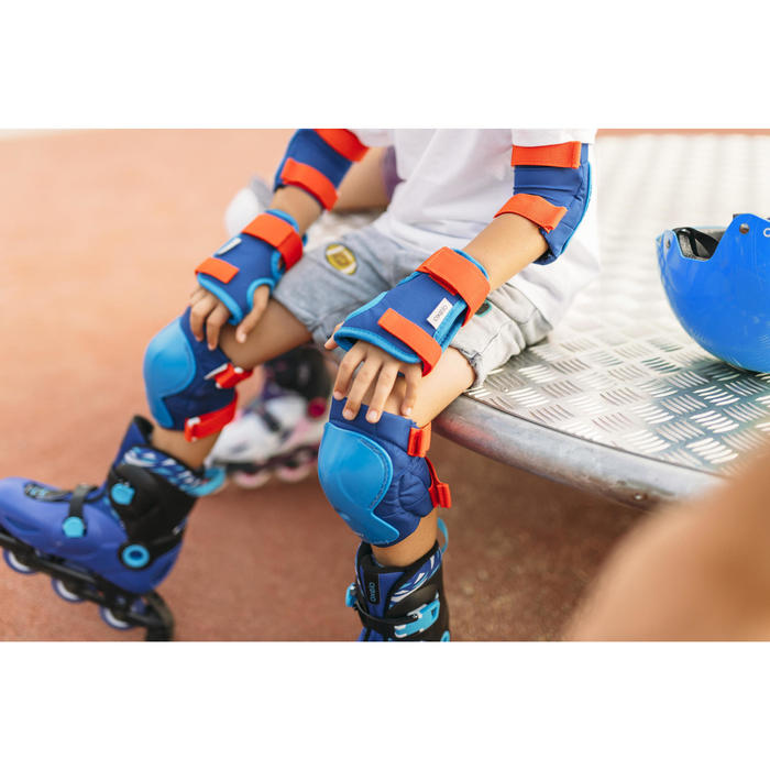 Protektoren 3er-Set Play Inliner Skateboard Scooter Kinder blau/rot