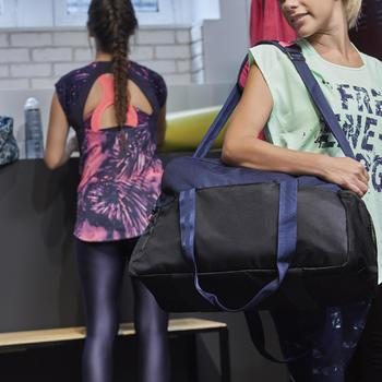 T-shirt fitness cardio femme bleu marine à imprimés roses 500 Domyos - 1264563