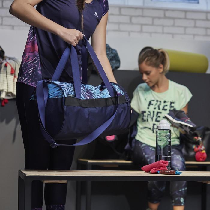 T-shirt fitness cardio femme bleu marine à imprimés roses 500 Domyos - 1264578