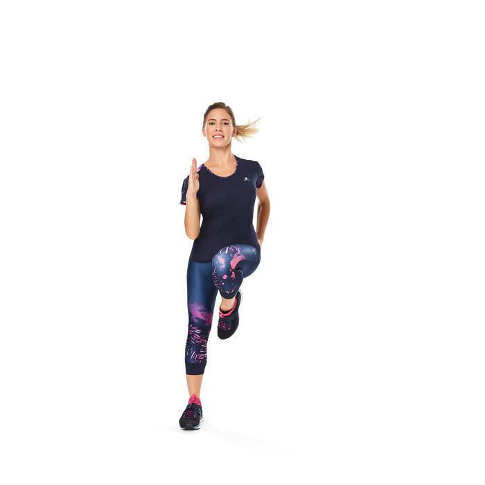 7/8-Leggings Cardio 500 Fitness Damen blau mit Tropical Print