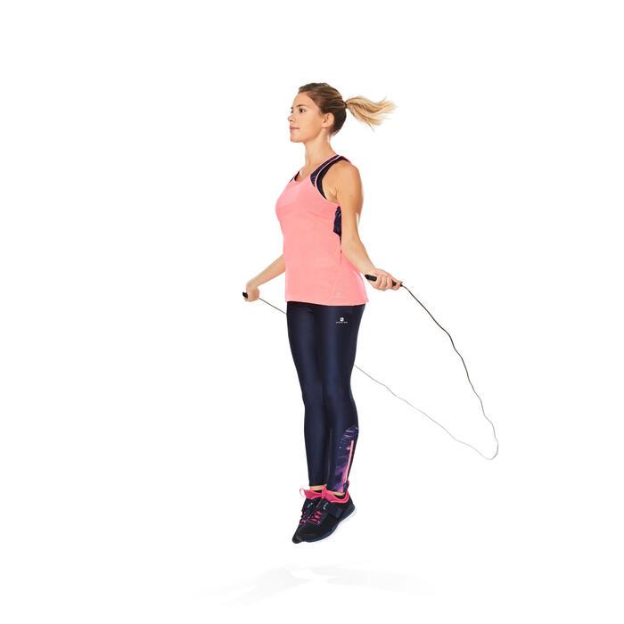 Legging fitness cardio femme bleu marine et imprimés tropicaux roses 500 Domyos - 1264595