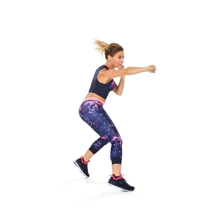 Legging 7/8 fitness cardio femme bleu marine détails tropicaux 500 Domyos - 1264596