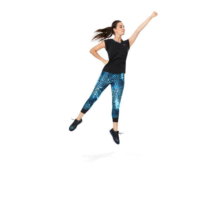 Legging 7/8 fitness cardio femme bleu marine détails tropicaux 500 Domyos - 1264597