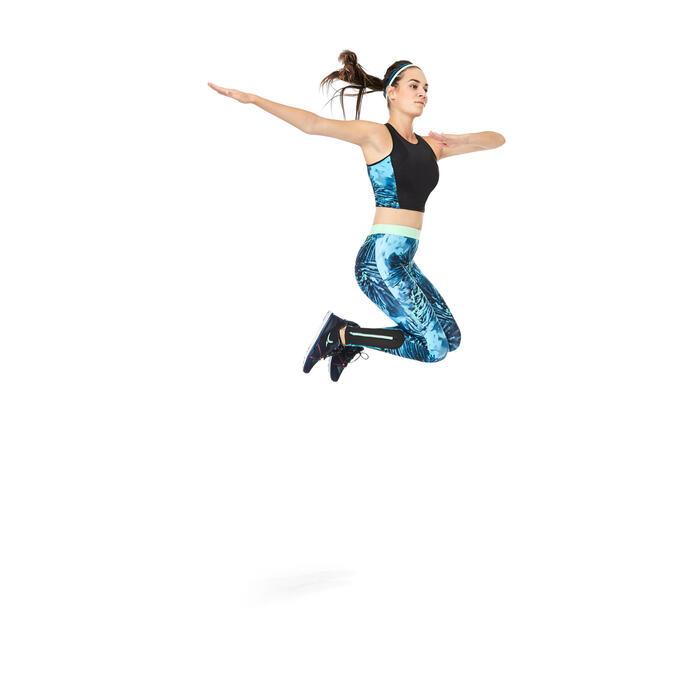 Legging fitness cardio femme bleu marine et imprimés tropicaux roses 500 Domyos - 1264600