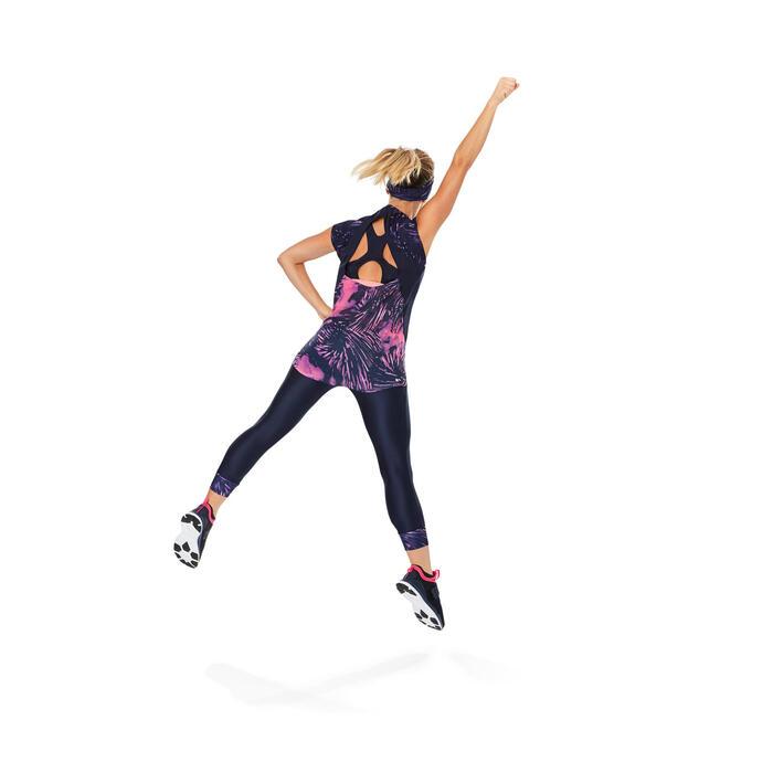 7/8-legging 500 voor cardiofitness, dames, blauw met roze tropical print Domyos