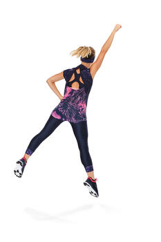 T-shirt fitness cardio femme bleu marine à imprimés roses 500 Domyos - 1264603