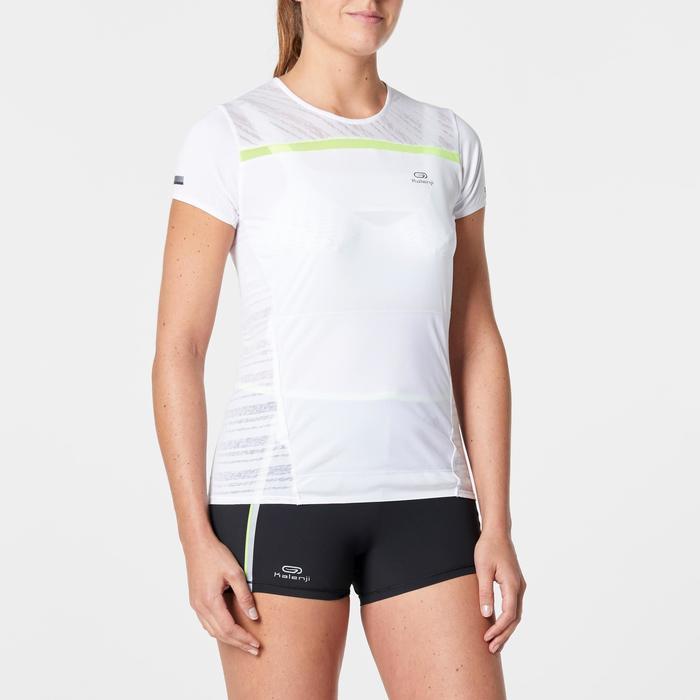 Camiseta Manga Corta Running Kalenji Mujer Blanco Portadorsal