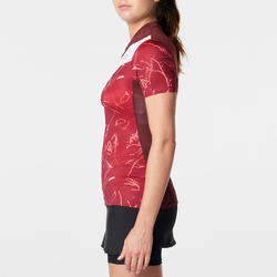 Camiseta de manga corta para trail running burdeos grafismo mujer