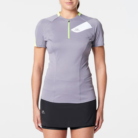 Women's Short-Sleeved Trail Running T-shirt - Grey/Yellow