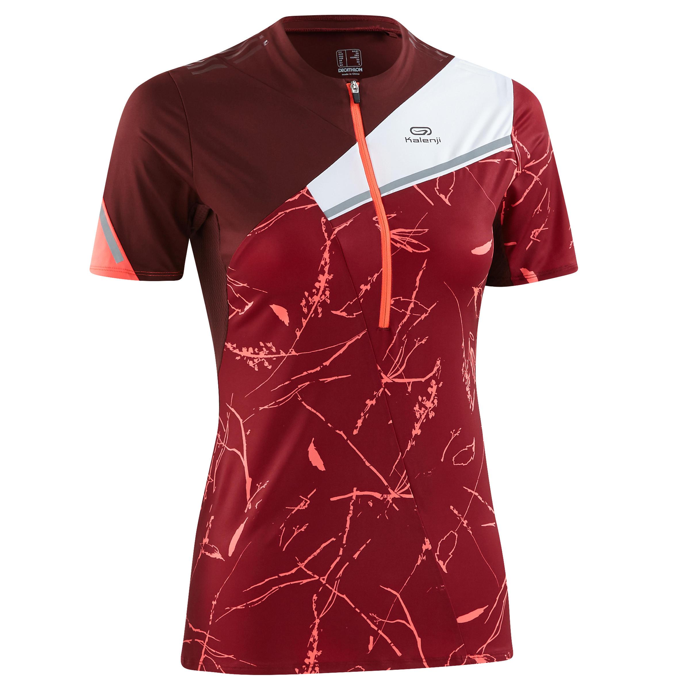 T-shirt manches courtes de course sur sentier graph bordeaux femme