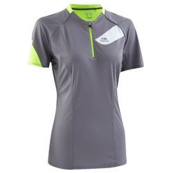 Women's Short-Sleeved Trail Running T-shirt - Grey/Yellow