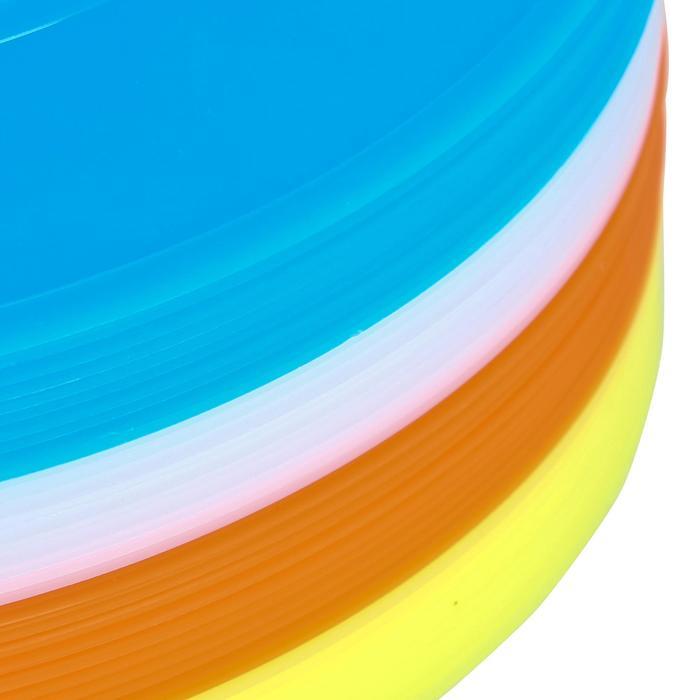 Set van 40 platte schijven (10 blauwe, 10 witte, 10 rode, 10 gele)