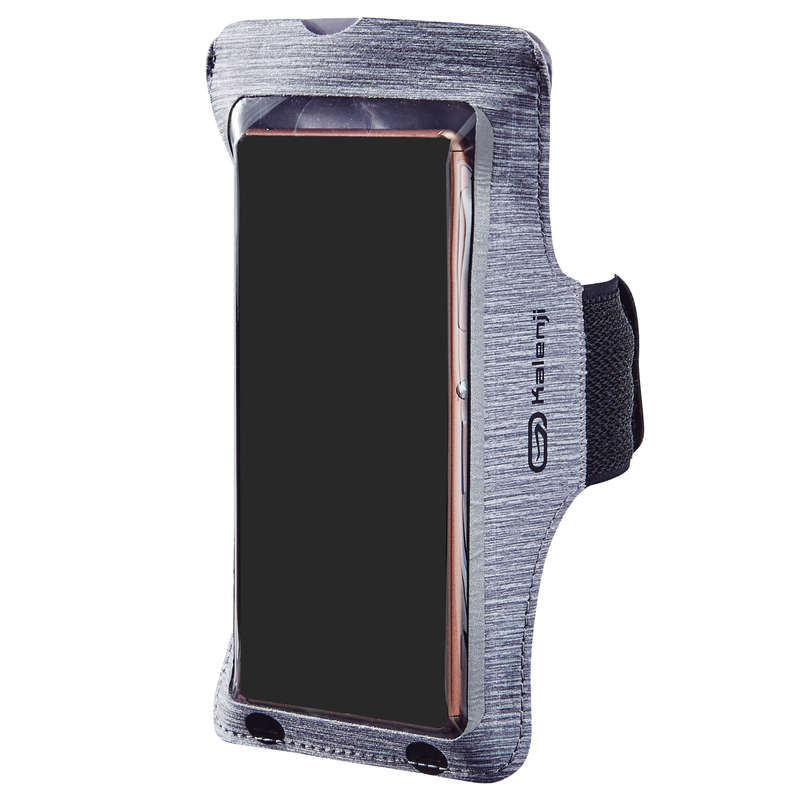 JOGGING ACCESSORIES TO CARRY Running - BIG SMARTPHONE ARMBAND - GREY KALENJI - Running Clothing