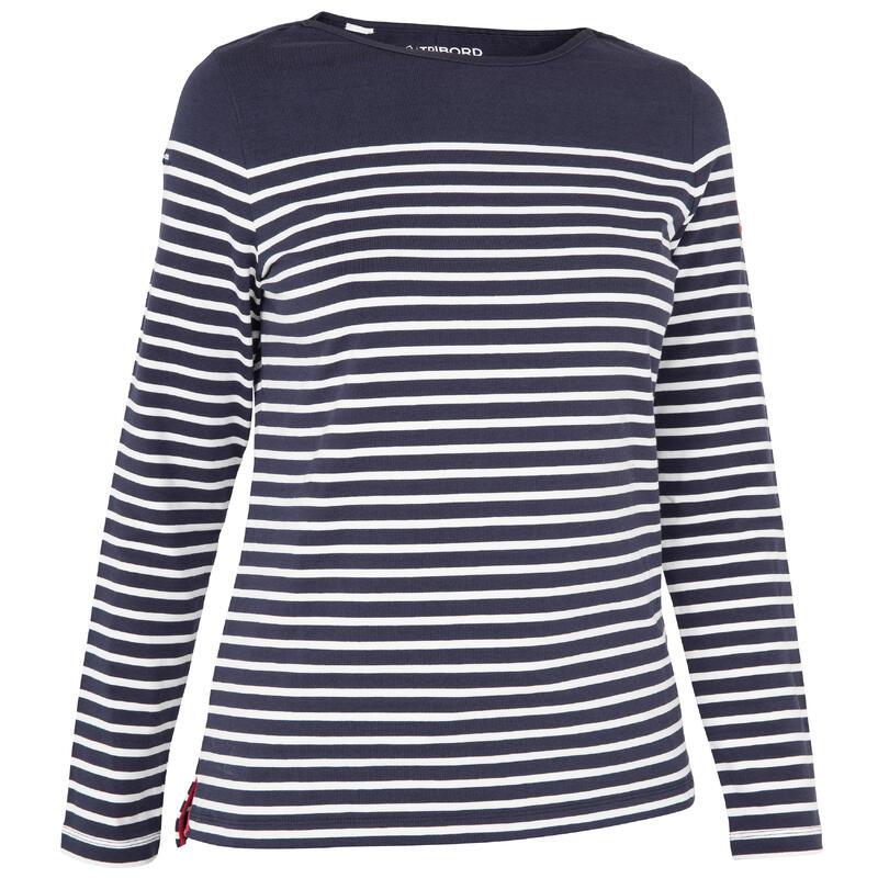 Streepjesshirt met lange mouwen voor dames Sailing 100 blauw