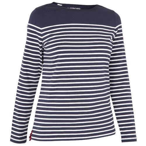 T-Shirt Manches longues - marinière de voile femme Sailing 100 Bleu