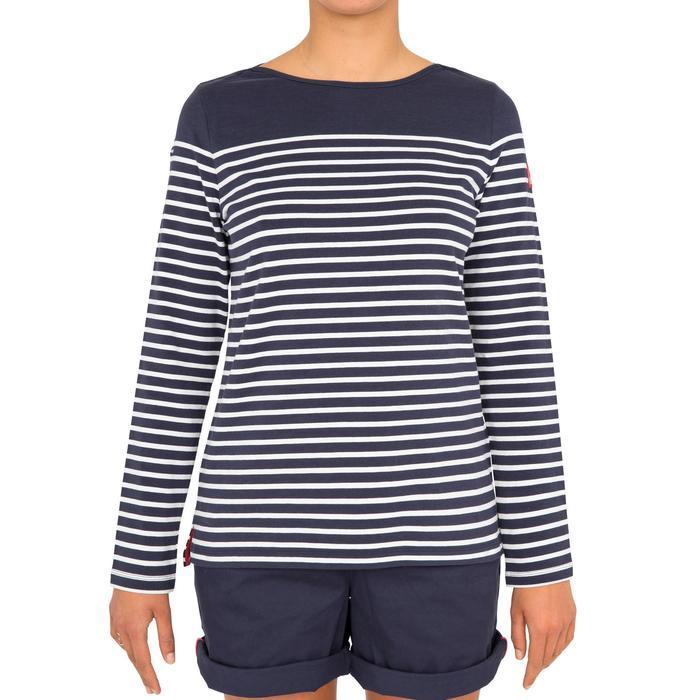 Shirt met lange mouwen 100 voor dames, blauw