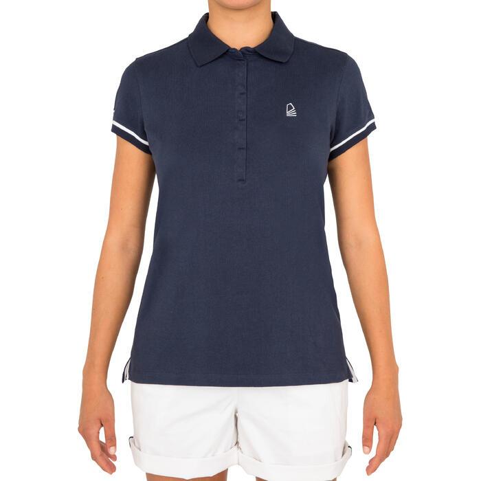 女款航海短袖Polo衫Adventure100-藍色