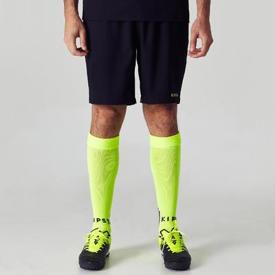 Short de football adulte F500 noir et jaune