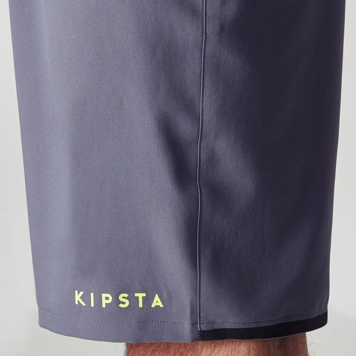 Pantalón corto de fútbol adulto F500 gris amarillo