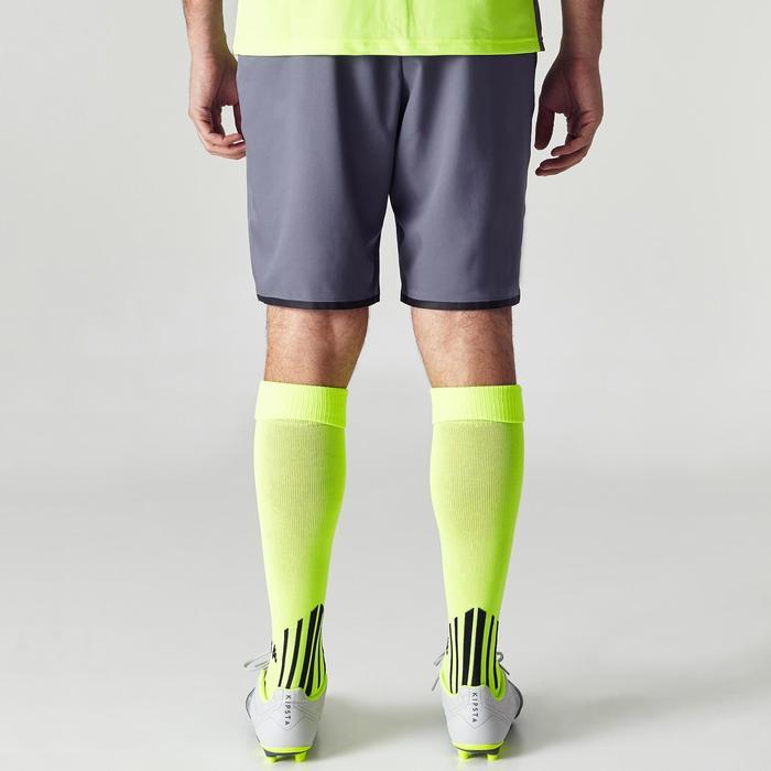 Voetbalshort voor volwassenen F500 grijs geel