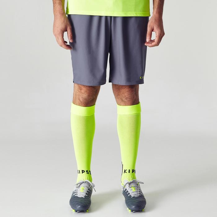 F500 Adult Football Shorts - Grey/Yellow