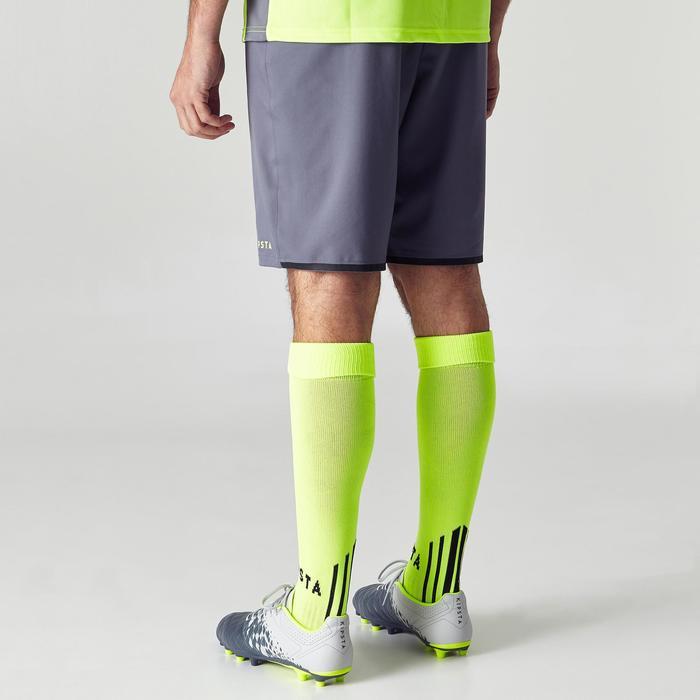 Fußballshorts F500 Erwachsene grau/gelb